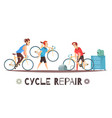 bicycle repair mechanic cartoon composition vector image vector image