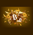 bitcoin concept abstract banner faceted golden vector image vector image