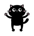 black cat open hand paw print kitty reaching vector image vector image