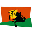 black cat sitting window vector image vector image
