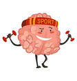 brain character emotion brain character goes in vector image vector image