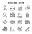 business icon set in thin line style vector image vector image