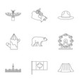 canada travel icon set outline style vector image vector image