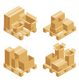 cardboard boxes and wood pallet vector image vector image