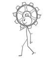 cartoon of man or businessman carry big cogwheel vector image vector image