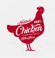 chicken silhouette and hand written lettering vector image vector image
