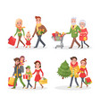 christmas holidays shopping people with bags vector image vector image