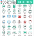 clothes shoes flat line outline icons vector image vector image