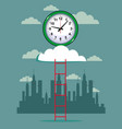 cloud and clock with ladder background vector image vector image