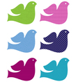 Colorful doves set isolated on white vector image vector image