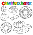 coloring book with flowers set vector image