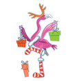 cute flamingo with gifts vector image vector image
