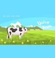 dairy farm landing page templte with summer rural vector image