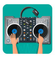 dj turntable modern headphones and human hands vector image vector image