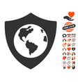 earth shield icon with valentine bonus vector image vector image
