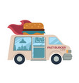 fast burger cafe food truck with hamburger or vector image