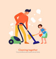father daughter cleaning together vector image