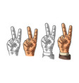 female hand sign victory sign or peace sign or vector image vector image