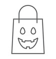 halloween shopping bag thin line icon package vector image vector image