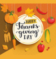 happy thanksgiving day card on geometric vector image vector image