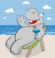 hippo on the beach vector image vector image