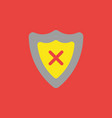 icon concept of guard shield with x mark on red vector image vector image