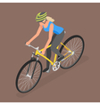 Isometric woman ride on bicycle vector image vector image