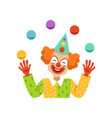 juggling circus clown avatar of cartoon friendly vector image