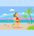 kid eating ice-cream on beach vacation vector image vector image