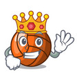 king volleyball mascot cartoon style vector image