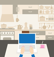 Laptop in the kitchen vector image vector image