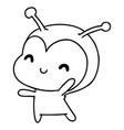 line drawing kawaii of a cute lady bug