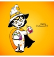 Little girl witch holding baby bottles with vector image vector image