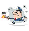 Male Caucasian Police Officer Shooting A Gun vector image vector image