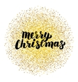 Merry Christmas Lettering over Gold vector image