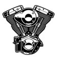 monochrome engine of motorcycle vector image vector image
