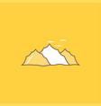mountain landscape hill nature birds flat line vector image