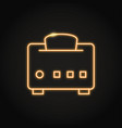 neon toaster with bread icon in line style vector image vector image