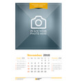 november 2018 wall calendar for 2018 year design vector image vector image