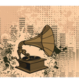 old gramophone with grunge background vector image vector image