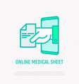 online medical sheet prescription thin line icon vector image vector image