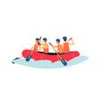 river rafting - cartoon people rowing in vector image vector image