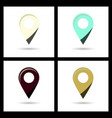 set of color gps navigator point pin map flat icon vector image vector image