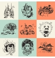 Set of nine with hand drawn vector image vector image