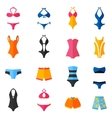 Swimwear Flat Icons Set vector image