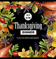 thanksgiving dinner poster with autumn leaves vector image