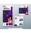 violet bi fold brochure design with square shapes vector image vector image