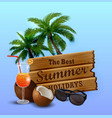 wooden board on tropical background vector image