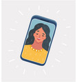 young smiling girl on display smartphone vector image vector image