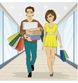 Man carrying stacks of boxes and shopping bags vector image
